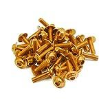 sourcing map 40Pcs Tornillos M6 X 20mm Rosca Aluminio Dorado de Moto Pernos de Cabeza Hexagonal