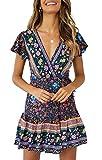 ZESICA Women's Summer Wrap V Neck Bohemian Floral Print Ruffle Swing A Line Beach Mini Dress Navy