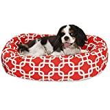 24 Inch Red Links Sherpa Bagel Dog Bed