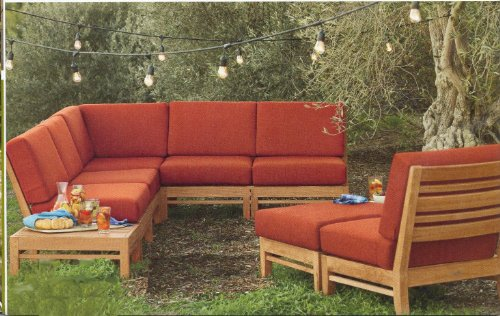 Ramled Sectional 6 Piece Sofa Set -2 Love Seats (Left/Right), 1 Corner Pc, 1 Armless Lounge Chairs & 1 Ottoman (Cushions Only) Outdoor Sunbrella Fabric Custom Made Cushions for #22RM6CS
