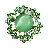 AJ Fashion Jewellery Salix Silver Tone Green Crystal Scarf Clip