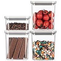 保存容器・キャニスター キッチンの大容量貯蔵タンク、 プラスチック防湿密閉タンクセット、 家庭用冷蔵庫収納フードボックス、 耐落下性と安全性 (Color : Gray-4 SET B)