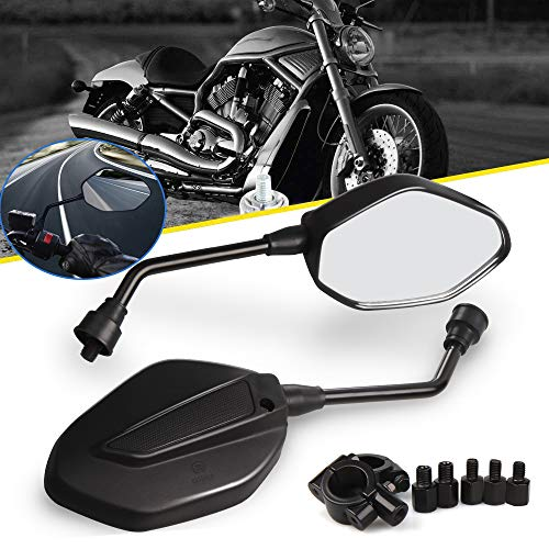 """Espejos Retrovisores de Moto, Aolead Retrovisor Moto 7/8"""" 8mm/10mm Manillar ABS Retrovisores de Moto para Sport Bike Scooter Choppers Cruiser - Negro"""