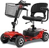 BXZ Scooter eléctrico de 4 ruedas para adultos Scooter de movilidad eléctrica Scooter de viaje para personas mayores de servicio pesado, pasamanos plegable y abatible, asiento ancho de 40 cm, 47 kg c