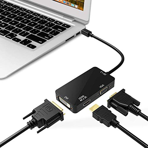 ZXY 3-In-1 Mini Displayport To HDMI DVI VGA, Compact 1080P Mini Display Mdp Converter Compatible for Macbook Air Pro, Imac, Imac Mini, Surface Pro
