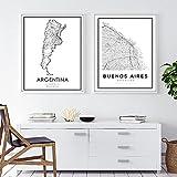 WQHLSH Argentinien Buenos Aires Stadt Straßenkarte Poster