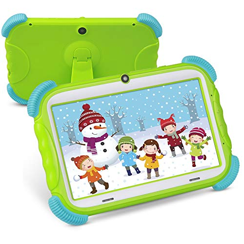 Tablet para Niños con WiFi Bluetooth 7 Pulgadas 1024x600 Tablet Infantil de Android 9.0 Quad Core 2GB 16GB Doble Cámara Kid-Proof Funda Tablet Niños Educativo Verde