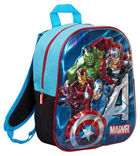 Boys Marvel Avengers Backpack 3D Holographic Metallic Kids School Book Lunch Bag Rucksack