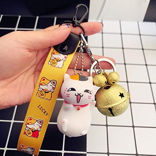 Bubbry Cat Teacher Doll Keychain leuke gelukkige katten-manchet-zak-hangende bel-hanger