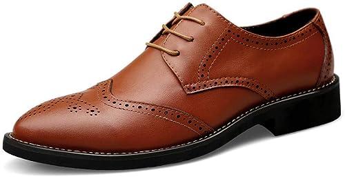 FuWeißncore 2018 Herren Business Oxford Casual Echtes Leder Britischen Stil Carving Gürtel Brogue Schuhe (Farbe   Schwarz Größe   44 EU) (Farbe   Braun, Größe   45 EU)