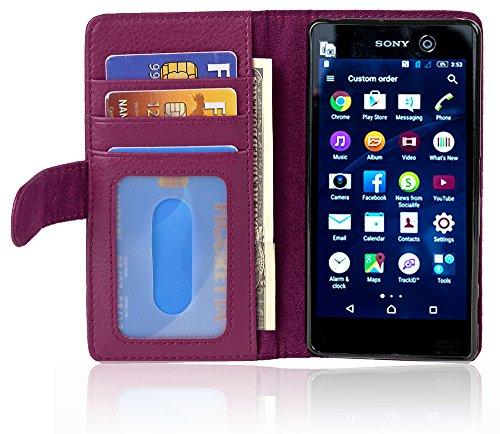Cadorabo Hülle für Sony Xperia M5 - Hülle in Bordeaux LILA – Handyhülle mit 3 Kartenfächern - Case Cover Schutzhülle Etui Tasche Book Klapp Style