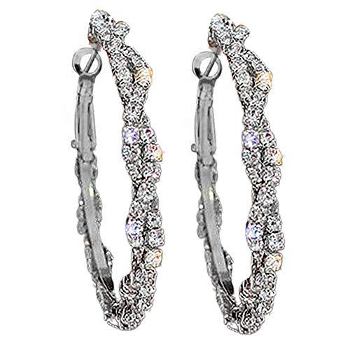 Yosemite - Pendientes de aro con diseño geométrico de perlas de imitación