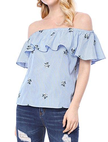 Allegra K Damen Sommer Volant Blumen Streifen Off Shoulder Top Bluse, L (EU 44)/Blue