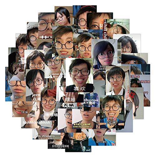 DSSJ 50 Paquetes de Emoji de celebridades de Internet, Pegatinas de Graffiti Lanyu, Maleta, Maleta con Ruedas para Motocicleta, Pegatinas Impermeables para Ordenador portátil