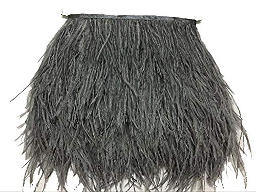 ADAMAI Natural Ostrich Feathers Trims Fringe DIY Dress Sewing Crafts Costumes Decoration Pack of 10 Yards (Grey)