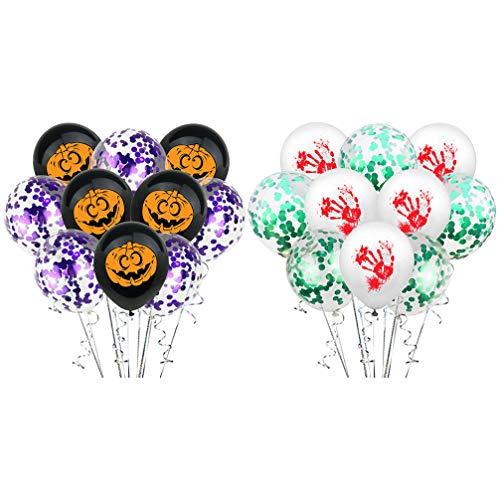 NUOBESTY 20 Stück Halloween Latex Luftballons Kürbis Fingerabdruck Luftballons für Halloween Party Dekorationen Trick Or Treat Spielzeug Schule Klassenzimmer Spiel