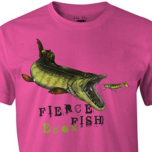 """Fladen T-Shirt """"Angeln"""" - Hungriger Zander, 100 % Baumwolle, Design: Zander beißt Köder,ideal für Raubfisch-Liebhaber, rose"""