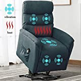 Bonzy Home Remote Control Recliner Chair with Massage Heat and Vibration- Electric Powered Lift Recliner Chair - Home Theater Seating - Bedroom & Living Room Chair Recliner Sofa for Elderly (Blue)