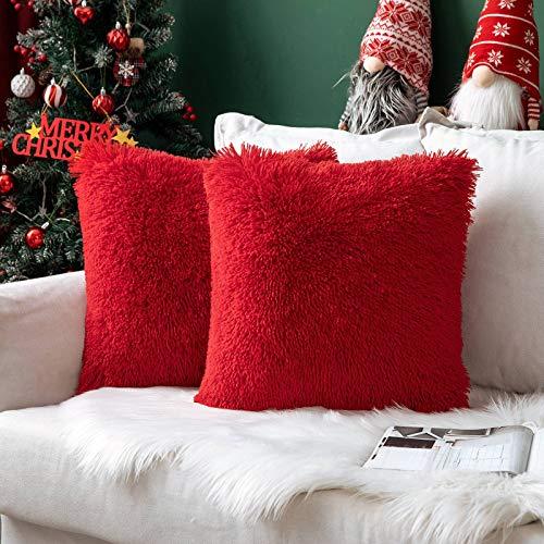 MIULEE Natale Confezione da 2 Federe in Felpa per Cuscini Decorative Fodere Copricuscini Arredi per Casa Divano Letto50 X 50 cm Rosso