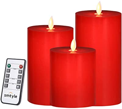 smtyle Red Flameless Candles for Decor with Remote and Timer Battery Operated with Moving Flame Wick Flickering LED Pillar Candle