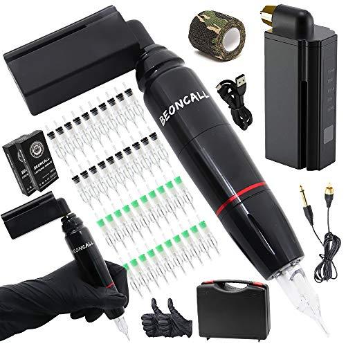 Tattoo Pen Machine Kit, Beoncall Rotary Tattoo Pen Machine with Tattoo Power Supply 40pcs Cartridge Needles Tattoo Grip Tape Tattoo Ink Caps Tattoo Kit Case Tattoo Supplies (Wireless Power)
