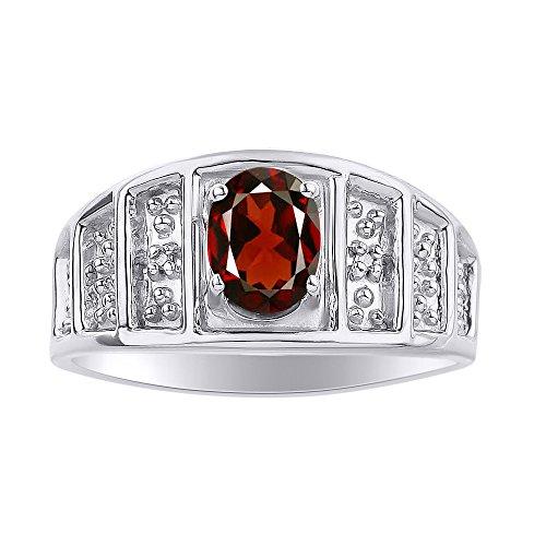 Juego de anillos de diamante y granate en oro blanco de 14 quilates – piedra de color anillo de nacimiento