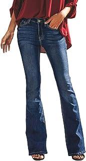 93bf9923d0c Mujer Vaqueros Pantalones Acampanados Talle Bajo Slim Fit Denim Pantalones  Largos Color Sólido Pantalones de Campana