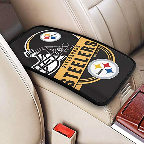 Pittsburgh Steelers Universal Auto Center Console Pad, Waterproof Car Armrest Cover Seat Box Cover Protector Football Logo Pattern Design Car Armrest Cover for Men Women 12.6x7.5inch