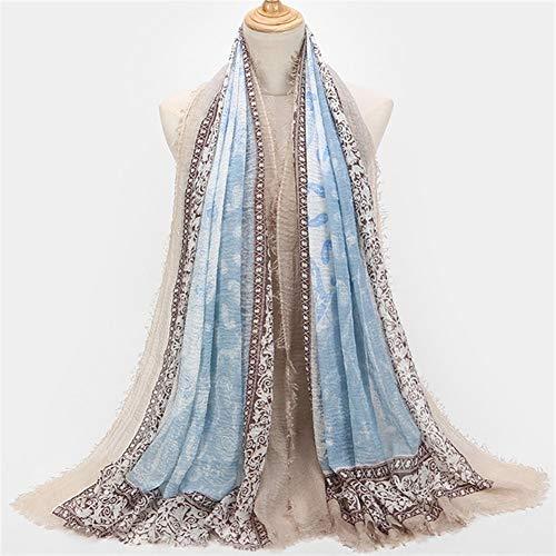 ZCY Halstücher Frauen Hijabs Turkish Falten Zerknittert Tücher Wraps Große Lange Pashmina Baumwolle Leinen Schal Hijab Fringes Quasten Muslim Wraps Seidenschal (Color : G)