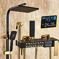 MEIXRJ シャワーセットバスルームシャワーセットホワイトゴールドデジタルシャワーシステム品質真ちゅう製シャワー蛇口温度表示ゴールドシャワーセット、C2、ホット、コールド、中国