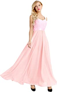 Minetom Womens Formal Evening Maxi 3/4 Sleeve Lace Dress,Off Shoulder Ball Gown Wedding Dresses for Women Pink UK 10