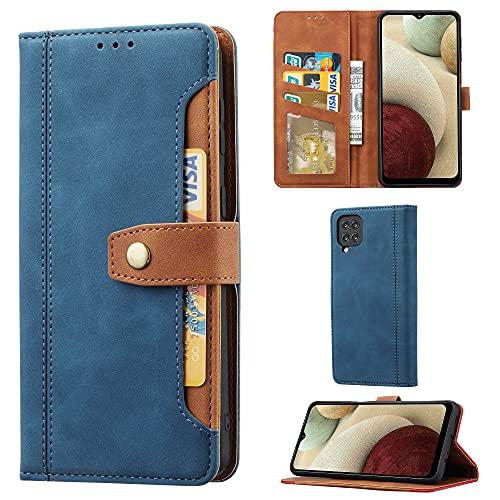 SCOOL Custodia a portafoglio in pelle per Samsung Galaxy A12 5G, con scomparti per carte di credito, aspetto lussuoso, in pelle, per Samsung Galaxy A12 5G, colore: blu