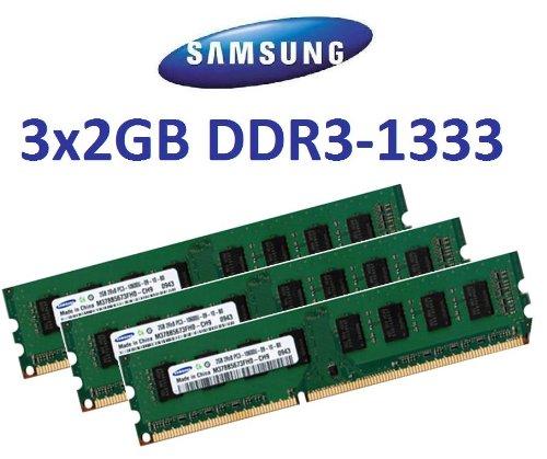 6GB Triple Channel Kit Samsung original 3 x 2 GB 240 pin DDR3-1333 (1333Mhz, PC3-10600, CL9) 128Mx8x16 Double Side (2X M378B5673FH0-CH9) für DDR3 Triple Channel (i7) Mainboards