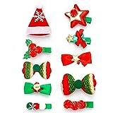 Unicra 10 Stück Weihnachts-Haarspangen Elch Baby Kleinkind Schleife Haarspangen Tier Weihnachten Haarteile Zubehör Geschenke Sets für Mädchen