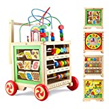 Wooden Activity Cube Toys with Bead Maze Baby Clocks Shape Sorter Abacus 6 in 1 Play Baby Push and Pull Learning Walker Educational Toys for Baby Kid Gifts for 12 Month 1st Birthday Girls Boys