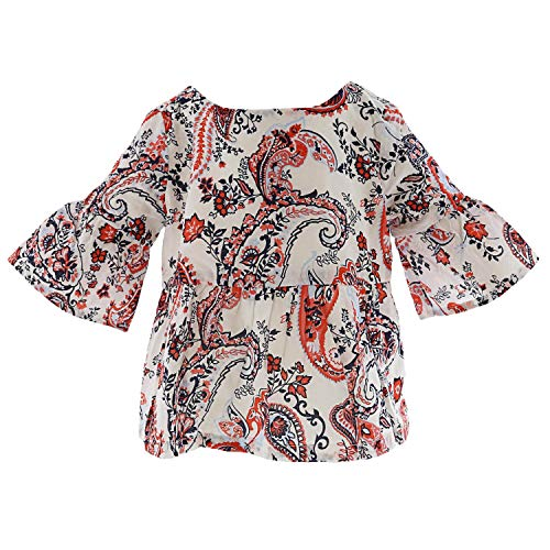 Janie and Jack Paisley Peplum Top Blouse - 3 - Red/White