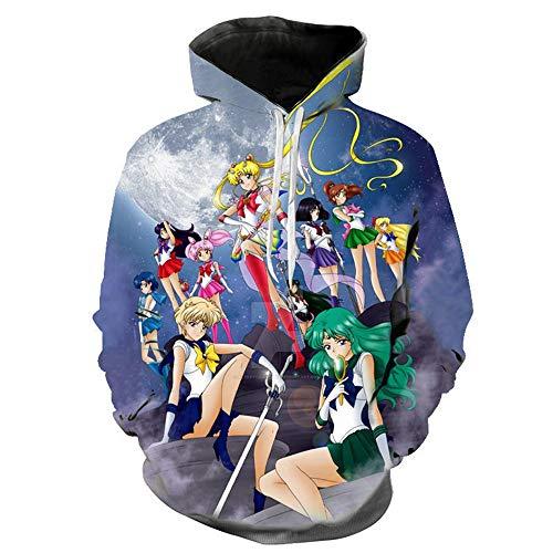 GIOSG Sailor Moon Hoodie Anime Costume Sweatshirt Sweater Cartoon Hooded Pullover With pocket,Blue,2XL