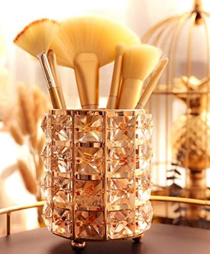 WSNBB Maquillage Européen Brosse Tube De Rangement en Cristal Maquillage Brosse Baril Métal Brosse À Vent Sourcil Crayon Peigne Cosmétique Boîte De Rangement