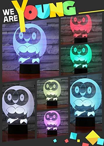 Nachtlampje Pokémon hout vogel LED 3D licht voor kinderen in 7 kleuren, bedlampje met cadeaulampje, decoratie