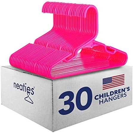 Neaties American Made 30 Premium Children s Pink Plastic Hangers with Notches and Heavy Duty product image