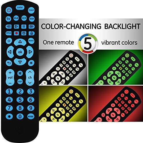 GE Color Select Backlit Universal Remote Control for Samsung, Vizio, LG, Sony, Sharp, Roku, Apple TV, RCA, Panasonic, Smart TV, Streaming Players, Blu-Ray, DVD, 4-Device, Black, 44220