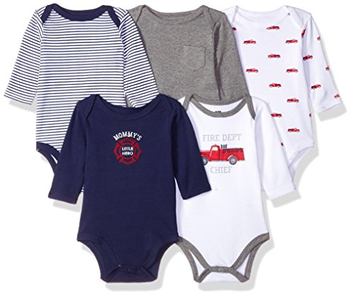 Hudson Baby Unisex Baby Cotton Long-sleeve Bodysuits, Fire Truck, 0-3 Months US