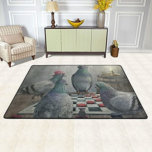 Alfombra de área para sala de estar, palomas jugando a damas, divertida paloma, antideslizante, alfombra de piso para decoración del hogar dormitorio