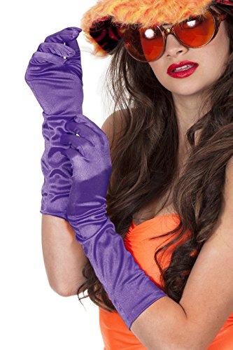 Jannes 52114 Elegante Gala Satin-Handschuhe Lang 40cm Show Glamour 70er Jahre 70s Disco Einheitsgröße Lila