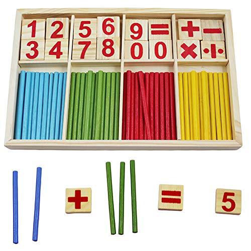 MEGAUK Kinder Holz Zählen und Rechnen Spiel Mathematik Lernen Spiel Rechenspiel aus Holz, Mathe Spielzeug inkl. Holzbox Vorschule Bildung mit Rechen-Stäbchen für 1. klasse Schüler