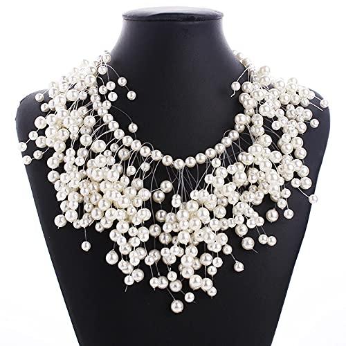 YZYZ Collar de perlas multicapa con borla para mujer, luz europea y americana, lujoso, collar y pendientes