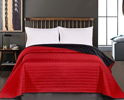 DecoKing Tagesdecke 260 x 280 cm schwarz rot Bettüberwurf Kreisen zweiseitig pflegeleicht Salice