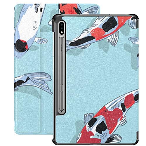 Funda para Galaxy Tab S7 Funda Delgada y Liviana con Soporte para Tableta Galaxy Tab S7 de 11 Pulgadas Sm-t870 Sm-t875 Sm-t878 2020 Versión, Patrón Carpas Koi Estanque de Peces