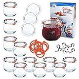 MamboCat 12er WECK-Einkochset | 12 Tulpengläser 370 ml + 12 Glas-Deckel RR80 + 12 Einkochringe + 24 Einweck-Klammern + Rezeptheft | bauchiges Einmach-Glas | Einkoch-Zubehör