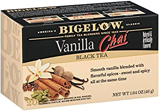 Bigelow Vanilla Chai Tea Bags 20-Count Boxes (Pack of 6), 120 Tea Bags Total. Caffeinated Individual Black Tea Bags, for Hot Tea or Iced Tea, Drink Plain or Sweetened with Honey or Sugar